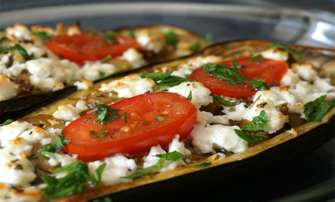Greek style Baked Eggplant with Greek Mountain Feta
